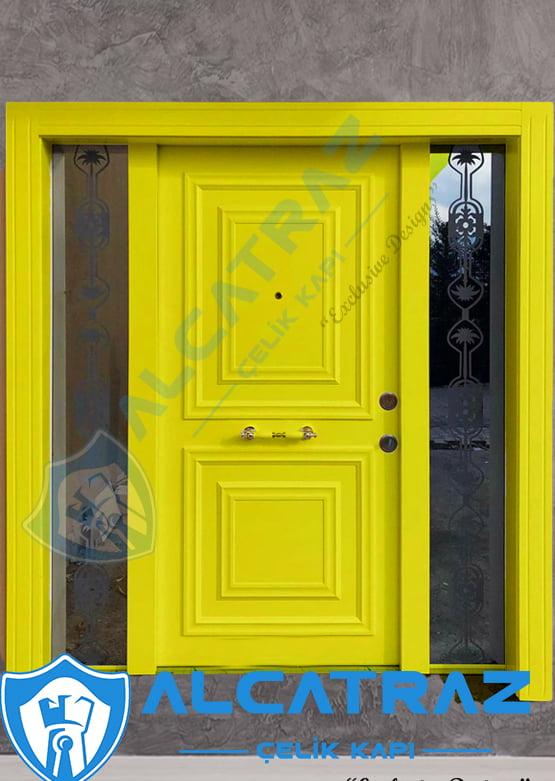 Sarı Dış Kapı Villa Kapısı Çelik Kapı