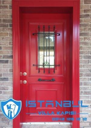 Kırmızı Villa Kapısı Dış Kapı Modelleri Çelik Kapı3