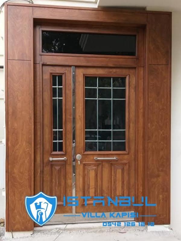 istanbul villa kapısı camlı açık ceviz özel üretim villa kapısı steel doors haüsturen çelik kapı villa giriş kapısı camlı kapı modelleri kompozit villa kapısı