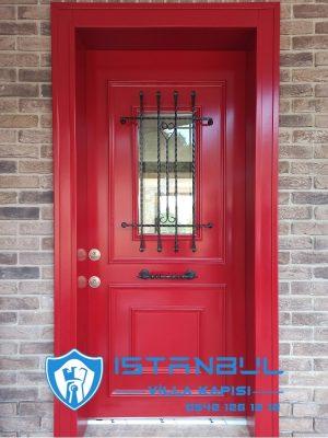 istanbul villa kapısı kırmızı red özel üretim villa kapısı steel doors haüsturen çelik kapı villa giriş kapısı camlı kapı modelleri kompozit villa kapısı