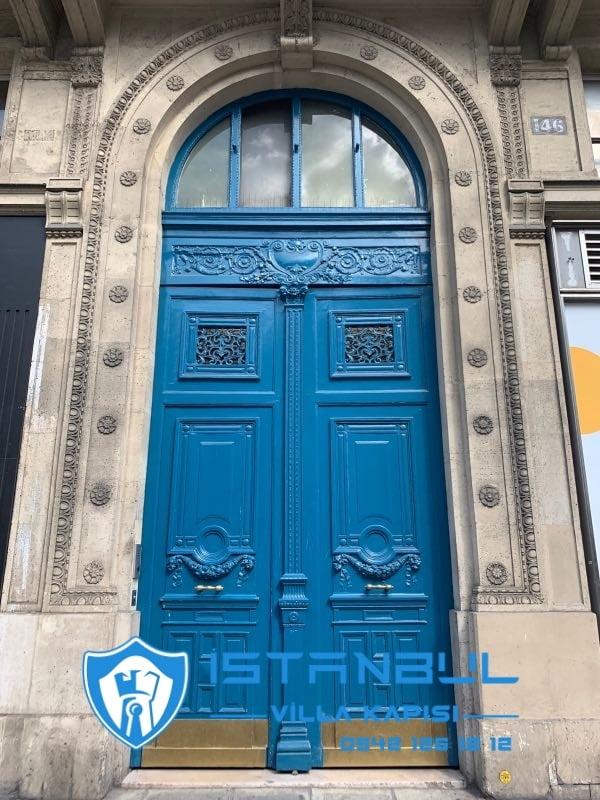 istanbul villa kapısı mavi özel üretim villa kapısı steel doors haüsturen çelik kapı villa giriş kapısı camlı kapı modelleri kompozit villa kapısı