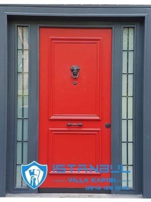 istanbul villa kapısı red kırmızı özel üretim villa kapısı steel doors haüsturen çelik kapı villa giriş kapısı camlı kapı modelleri kompozit villa kapısı