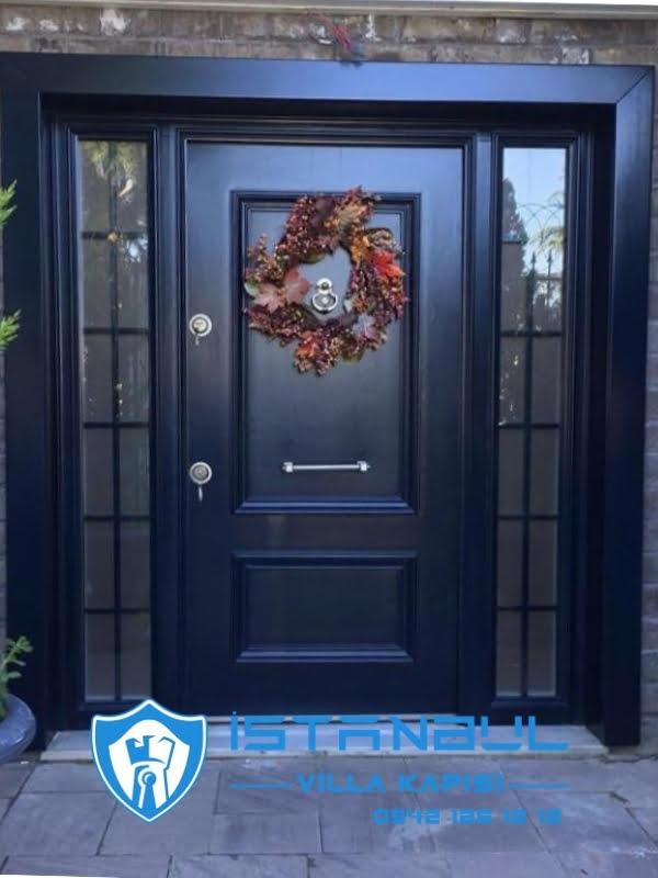 istanbul villa kapısı siyah black özel üretim villa kapısı steel doors haüsturen çelik kapı villa giriş kapısı camlı kapı modelleri kompozit villa kapısı